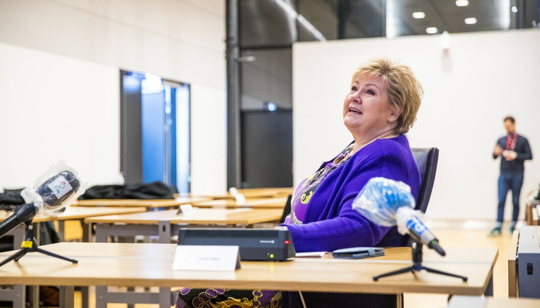 Statsminister Erna Solberg under videomøtet med de fire kommunene. Foto: Håkon Mosvold Larsen / NTB scanpix