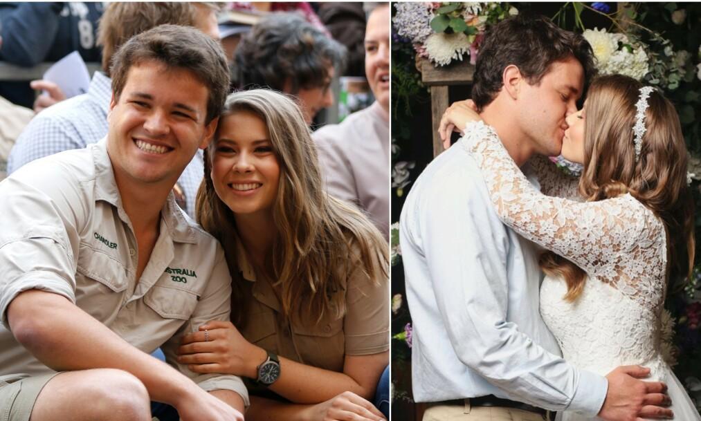 NÅ ER DE GIFT: Bindi Irwin og Chandler Powell giftet seg i Australia Zoo onsdag denne uken. Foto: NTB scanpix/ Instagram