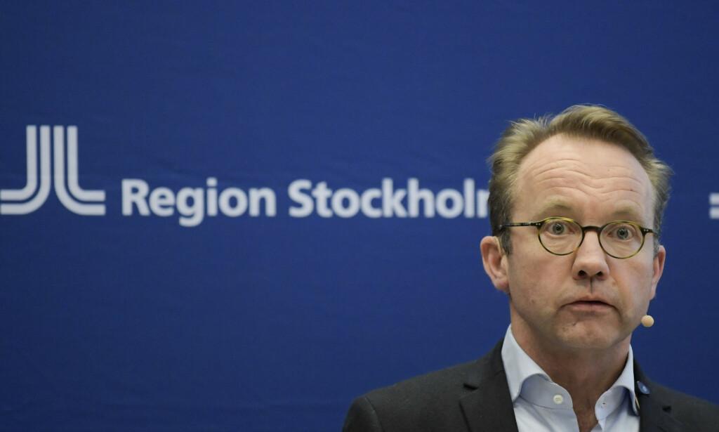 Helsedirektør Björn Eriksson kom med dystre nyheter om koronautbruddet i Stockholm på onsdagens pressekonferanse. Foto: Janerik Henriksson/TT Nyhetsbyrån / NTB scanpix