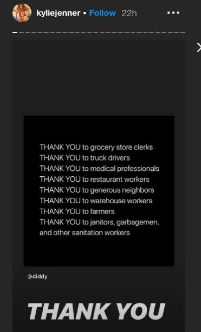 <strong>TAKKET:</strong> Tirsdag sendte Kylie en takk til en rekke yrkesgrupper og folk som stiller opp for andre. Foto: Instagram/ Kylie Jenner