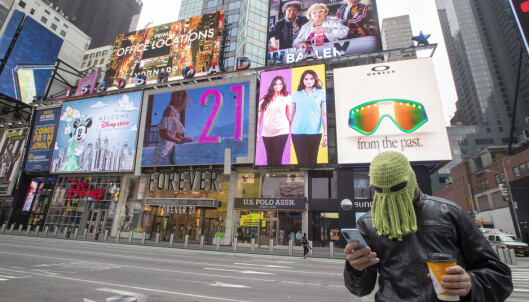 <strong>FOLKETOMT:</strong> Vanligvis så folksomme Times Square i New York var nærmest skrapet for folk onsdag. Foto: Mary Altaffer / AP / NTB Scanpix
