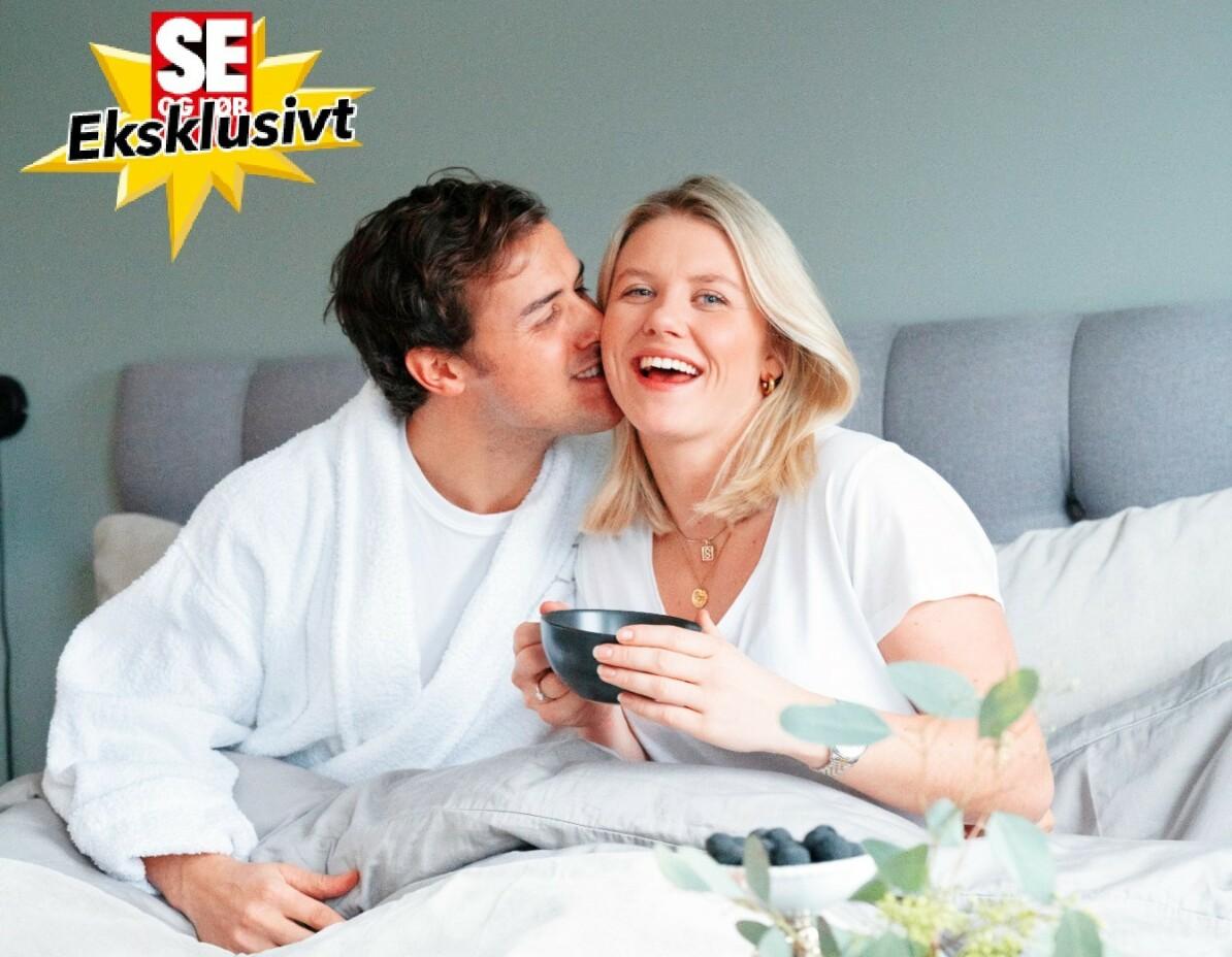FROKOST PÅ SENGEN: Stian og Tiril trives godt med å ta frokosten i sengen.
