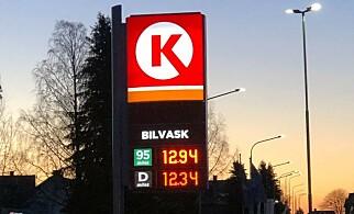 BILLIG: Under 13 kroner per liter for 95 blyfri og diesel ved Circle K i Horten. Foto: Rune M. Nesheim