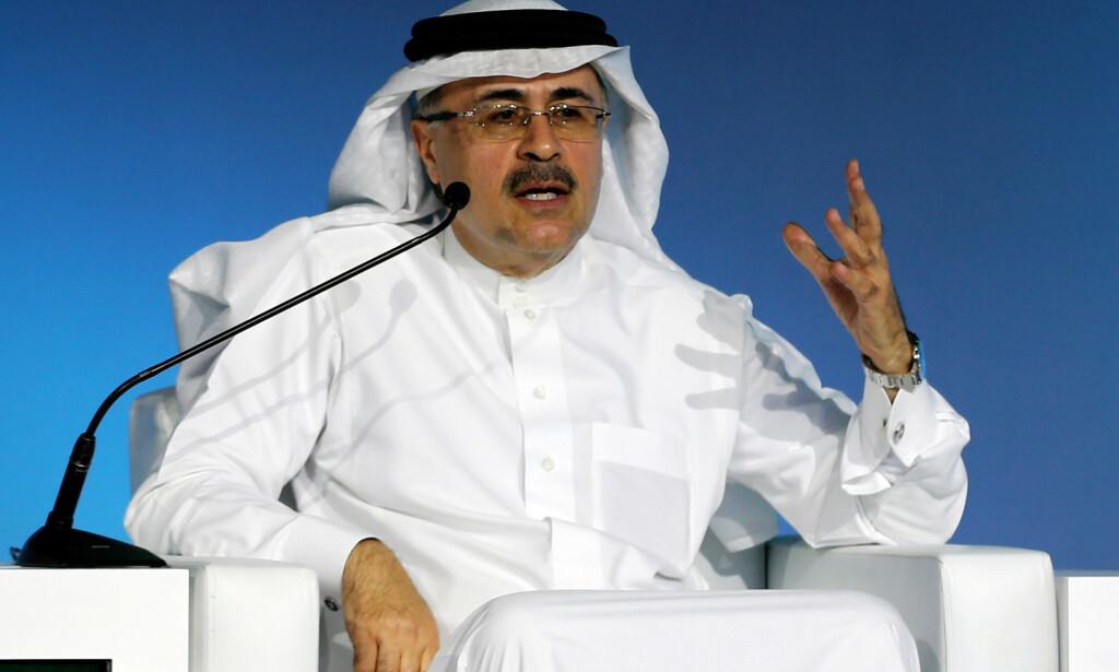 PUMPER OPP: Amin H. Nasser, sjef i Saudi Aramco, pumper opp olje og skal øke eksporten i den pågående oljekrigen med Russland. Foto: Ahmed Yosri / Reuters / NTB Scanpix
