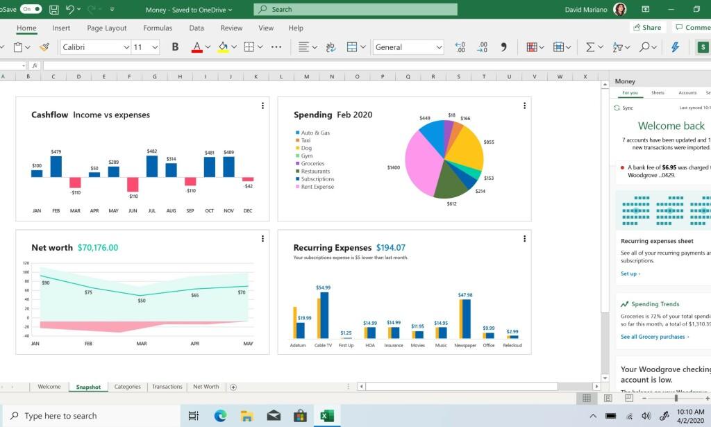 Money i Excel blir først tilgjengelig for brukere i USA.