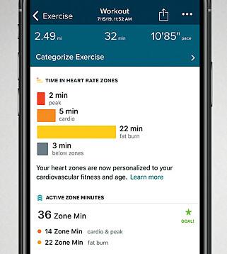 PULSSONE: Etter at du har gjennomført en treningsøkt, kan du gå inn i oppsummeringen for å se hvilke pulssoner du lå i. Foto: Fitbit
