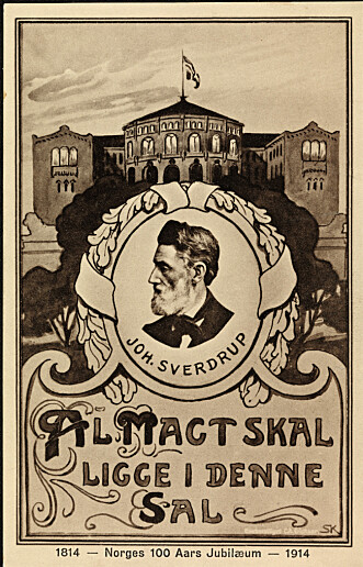 ALL MAKT: Johan Sverdrups tale om at all makt skal samles «her i denne sal», Stortinget, gjelder fortsatt i Norge, sier Syse. Foto: Nasjonalbiblioteket
