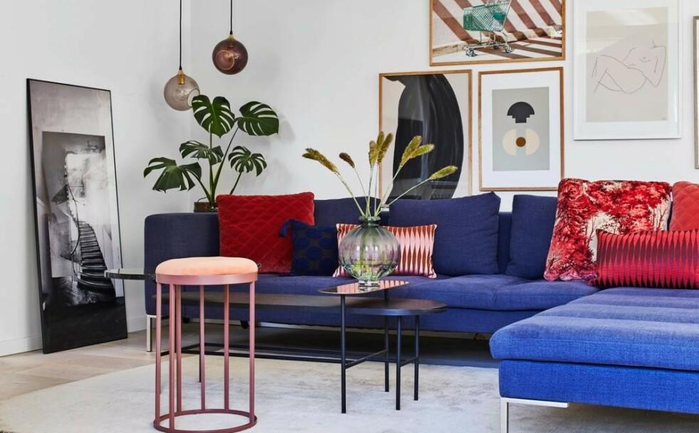 Camilla bytter ofte ut ting. Så når hun blir lei av den blå sofaen fra Idé møbler, vil hun selge den igjen. Tips! Et stort bilde som er satt på gulvet bidrar til å skape en avslappet stemning. I tillegg blir det lett å flytte det rundt. FOTO: Høeg + Møller