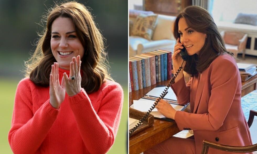 UTEN RING: Til vanlig pleier hertuginne Kate å ha forlovelsesringen hun fikk fra prins William godt plassert på venstre ringfinger. På et nytt bilde delt av hertugparet på Instagram, er den ikke å se. Det har en helt naturlig årsak. Foto: NTB Scanpix / Instagram, @kensingtonroyal