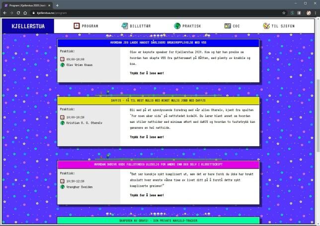 På kjellerstua.no finner du blant annet programmet, med masse informasjon om alle foredragsholderne. Noen minner om visse utviklere du har lest om her på kode24, kanskje?