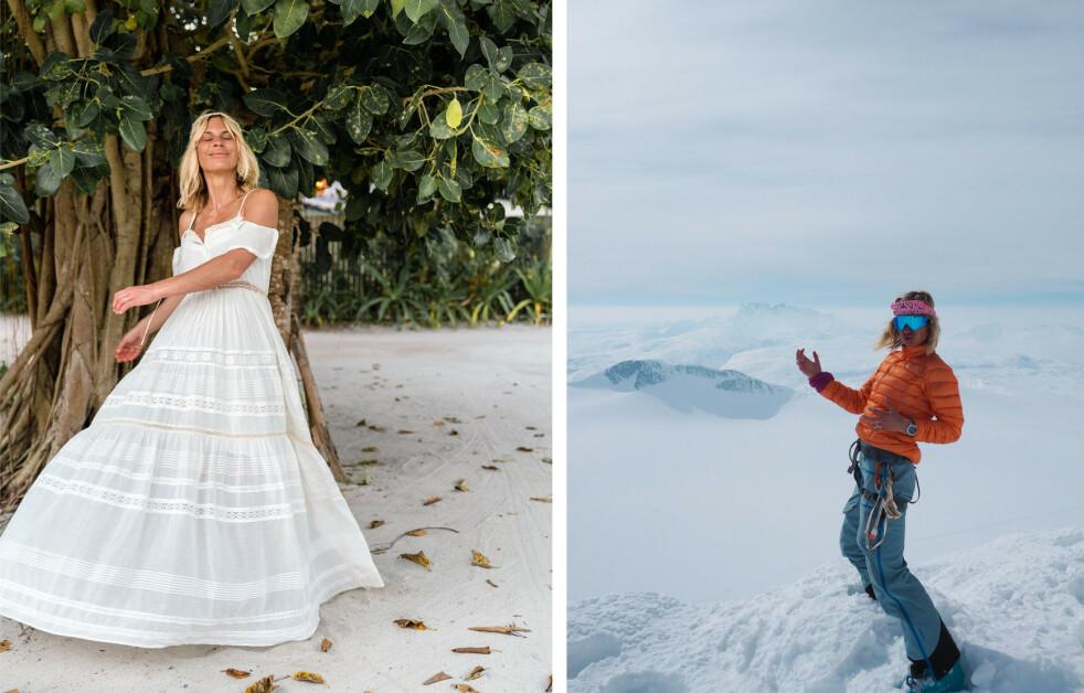 ELISA RØTTERUD: Livet til Norrøna-storyteller Elisa Røtterud byr på kontraster - i det ene øyeblikket kan hun være på en fjelltopp i Nepal, og i det neste på stranden ikledd sine vakreste kjoler fra favorittdesignerne. - En kan like både vakre kjoler og bestige fjell, sier hun til KK. FOTO: @elisarotterud