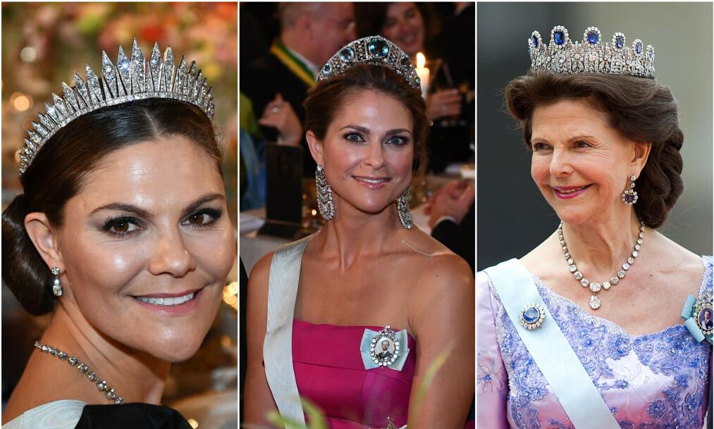 <strong>FAVORITTER:</strong> Alle kvinnene i det svenske kongehuset har sine favorittsmykker, og nå røper de hva som avgjør når de får bære de forskjellige. Foto: NTB Scanpix