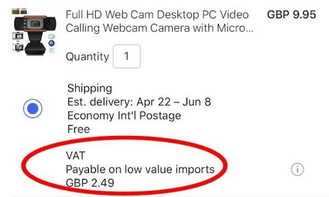 25 PROSENT MOMS: Dette webkameraet koster 9,95 britiske pund. Så blir 25 prosent moms lagt til, slik at totalprisen blir 12,44 pund, eller rundt 32 kroner mer enn det ville kostet før momsgrensa forsvant. (Skjermdump)