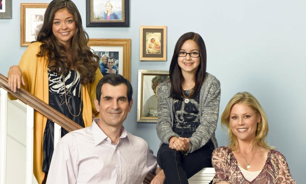 <strong>TIDLIG I RAMPELYSET:</strong> Ariel Winter (nummer to fra høyre) ble en del av «Modern Family» allerede som elleveåring. Å vokse opp i rampelyset mener hun har vært tøft. Foto: NTB scanpix