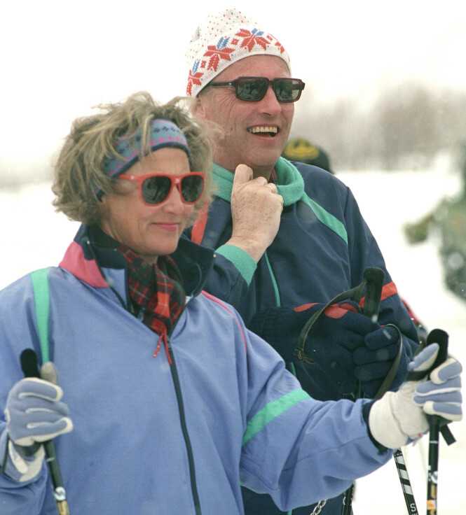 <strong>1992:</strong> Dronning Sonja og kong Harald på påskeferie for 28 år siden. Foto: Terje Bendiksby NTB / Scanpix