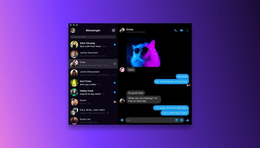 <strong>MESSENGER:</strong> Windows og macOS har endelig fått en Messenger-app. Foto: Facebook