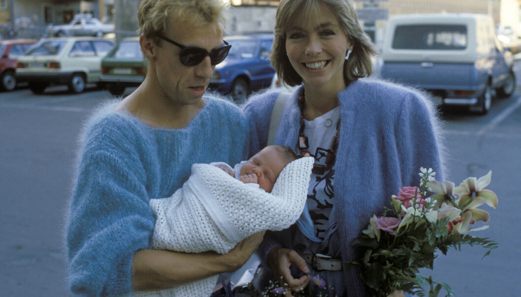STOLTE FORELDRE: Jahn Teigen og Anita Skorgan med datteren Sara. Foto: NTB Scanpix