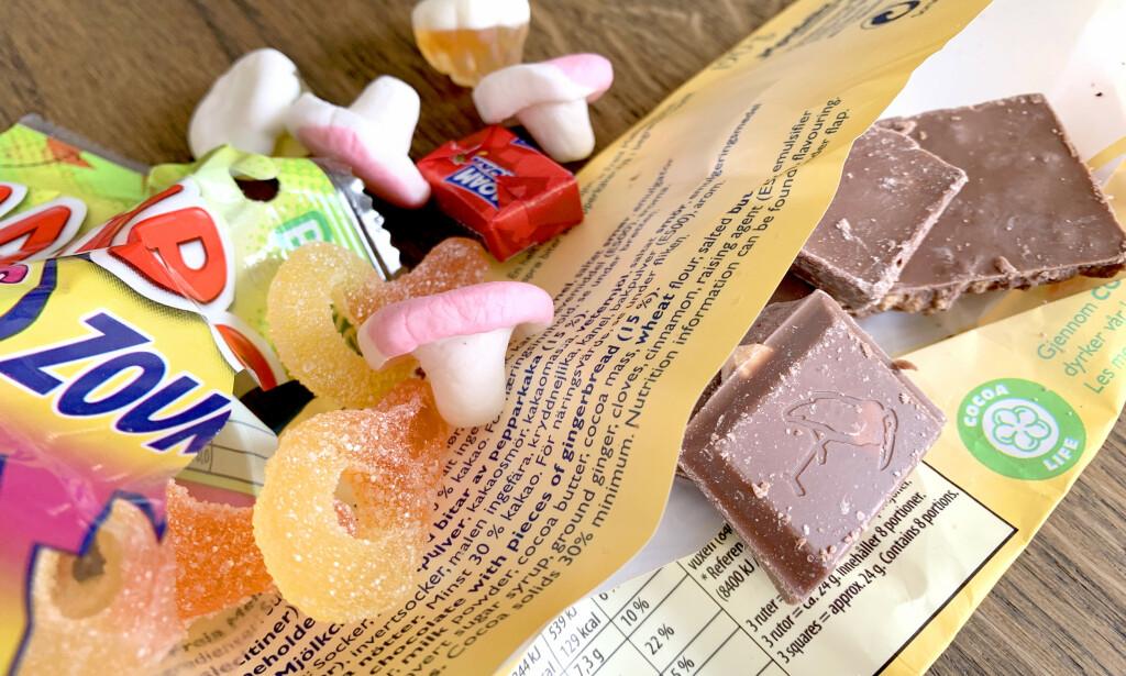 HVORDAN OPPBEVARER DU GODTERI? Det er ikke det samme hvordan du oppbevarer godteri, hverken før eller etter åpning. Beste temperatur er <i>ikke</i> den du har på kjøkkenet - og du bør ikke ha sjokolade i samme beholder som skum- og gummigodteri. Men lufttett emballasje er uansett best, for alt. Og papirposen fra smågodthylla? - Den bør du kaste. Foto: Kristin Sørdal