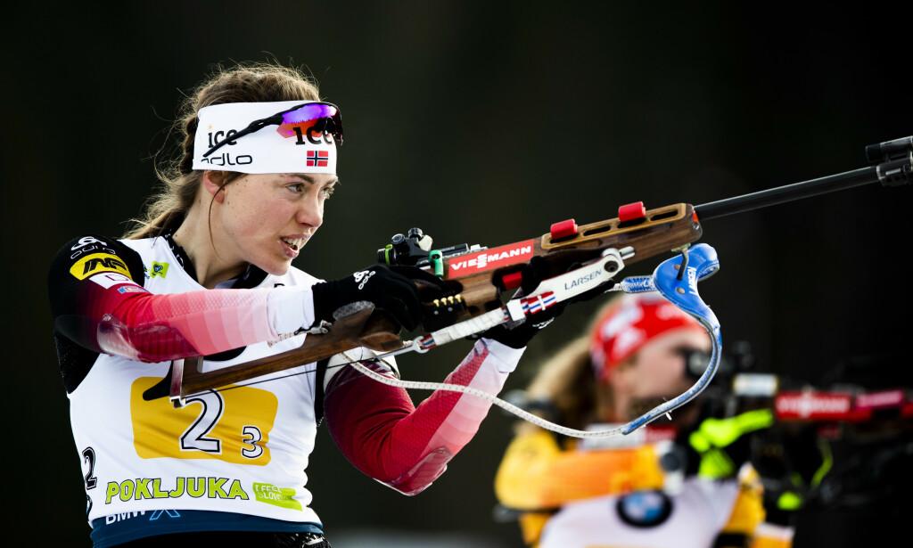 POKLJUKA, SLOVENIA 20200125.  Synnøve Solemdal i mixed stafett under verdenscup skiskyting i Pokljuka, Slovenia.  Norge gikk inn til en 2.plass, Frankrike gikk inn til 1.plass og Tyskland en 3.plass. Foto: Berit Roald / NTB scanpix