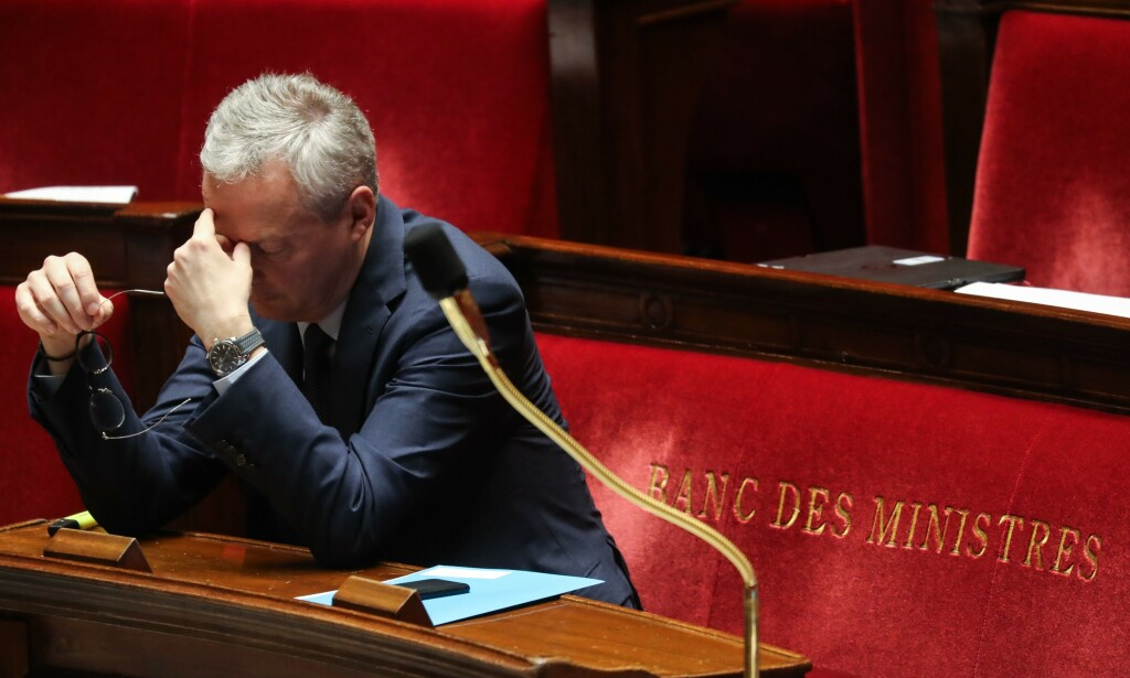 HISTORISK: Frankrike vil i år trolig oppleve den verste resesjonen siden andre verdenskrig, sier landets finansminister Bruno Le Maire. Foto: Ludovic Marin / AFP / NTB Scanpix
