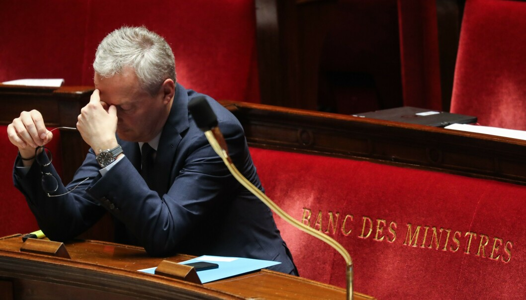 <strong>HISTORISK:</strong> Frankrike vil i år trolig oppleve den verste resesjonen siden andre verdenskrig, sier landets finansminister Bruno Le Maire. Foto: Ludovic Marin / AFP / NTB Scanpix