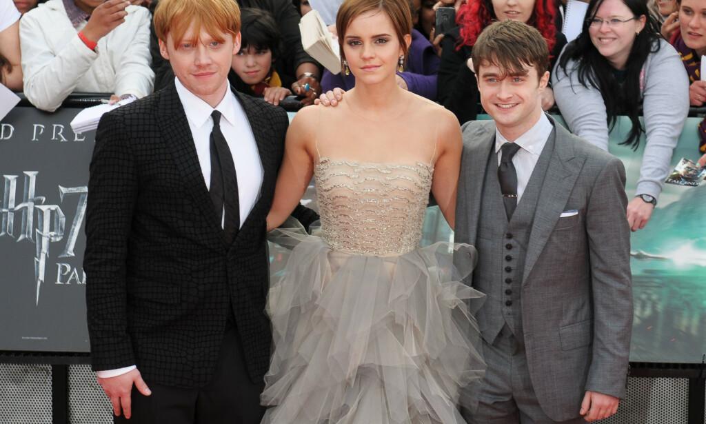 TRIO: Rupert Grint, Emma Watson og Daniel Radcliffe på premieren av den siste «Harry Potter»- filmen, «Harry Potter and the Deathly Hallows: Part 2» i 2011. Foto: Toby Hancock/REX