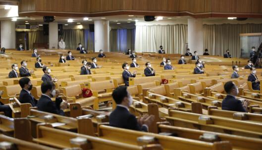 En av Sør-Koreas største kirker holdt påskegudstjeneste i Seoul for pastorer i menigheten Yoido Full Gospel Church Foto: Lee Jin-man / AP / NTB scanpix