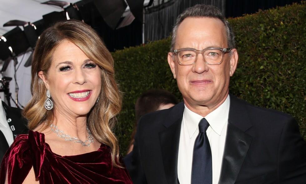 ÆRLIG: Stjerneparet Rita Wilson og Tom Hanks var først ut av kjendisene til å teste positivt for coronaviruset. Nå avslører førstnevnte hvordan det var å være smittet av coronaviruset. Foto: NTB Scanpix