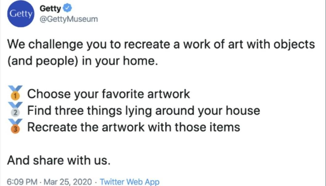 UTFORDRING: Getty Museum i Los Angeles kom med denne oppfordringen på Twitter. FOTO: Skjermdump Twitter.