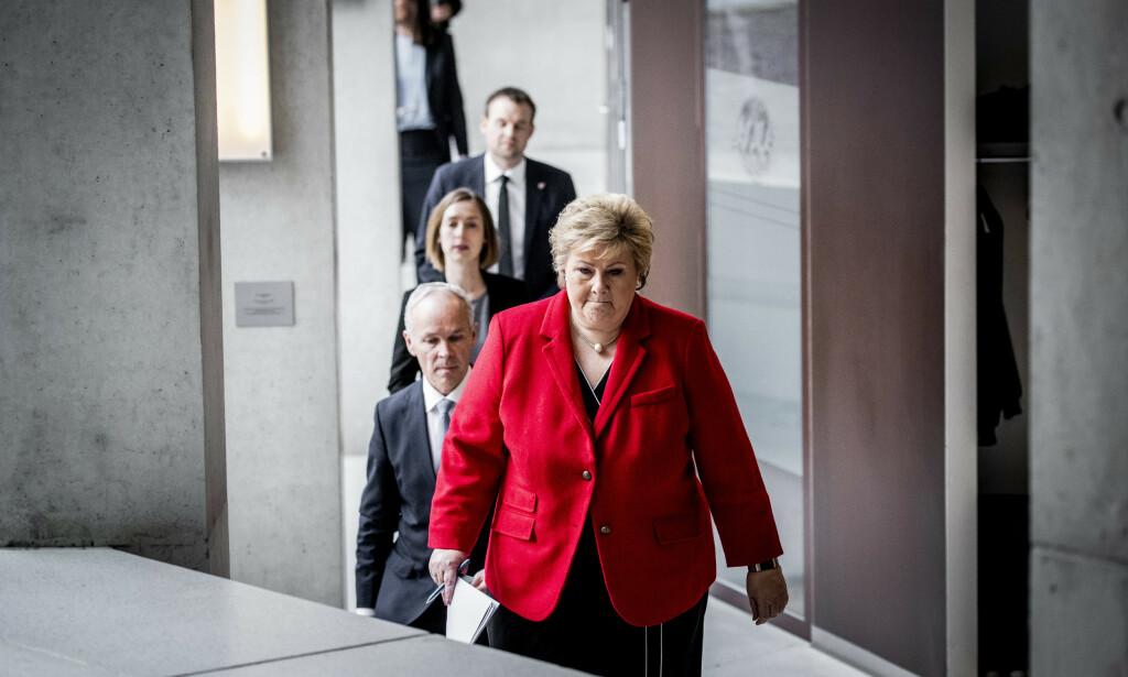 SVARER: Statsminister Erna Solberg fikk kritikk fra opposisjonen i Dagbladet. Hun er ikke enig i framstillingen fra sine politiske motstandendere, ei heller er hun enig i Dagbladets framstilling av saken. Foto: Bjørn Langsem / Dagbladet