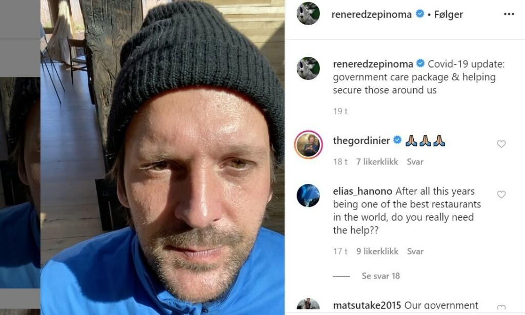 TAR VARE PÅ FLOKKEN: Rene Redzepi på Noma samler nå inn penger til folk som en eller annen gang har jobbet på Noma - og som nå ikke har penger.