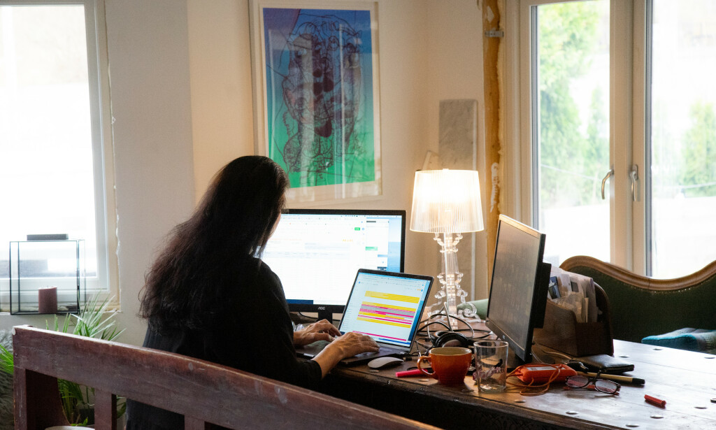 HJEMMEKONTOR: Åtte av ti jobber mer effektivt på arbeidsplassen enn hjemmefra. Foto: Thomas Brun / NTB scanpix