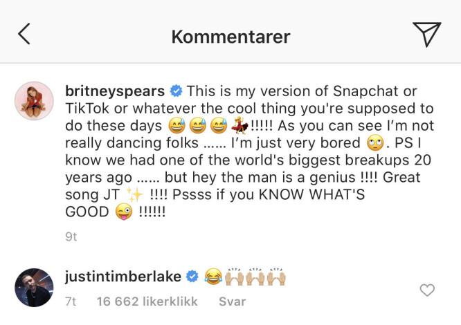 <strong>KOMMENTAR:</strong> Justin Timberlake er blant de mange som har sett Britney Spears' nye video på Instagram, der hun danser til en av låtene hans. Foto: Skjermdump fra Instagram