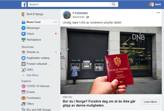 Slik promoteres artikkelen ut på Facebook. Foto: Skjermdump