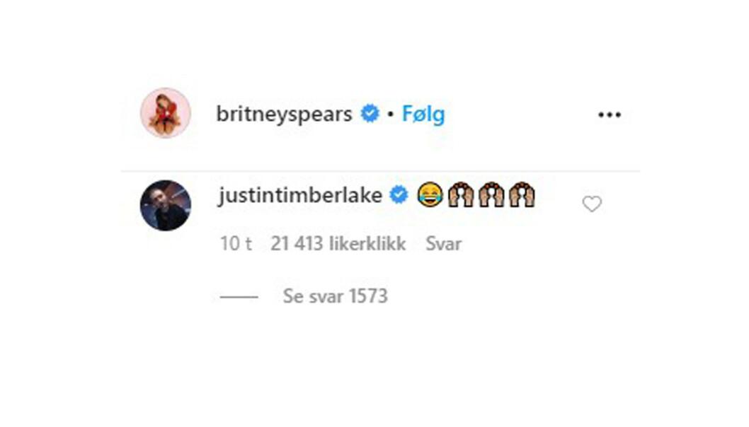 RESPONS: Slik så Justin Timberlakes respons på eksens video, der hun danser til hans musikk, ut. FOTO: skjermdump Instagram