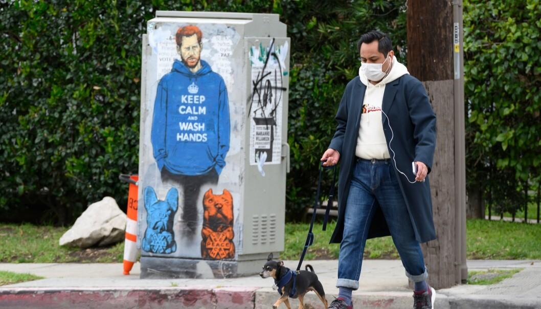 <strong>I LOS ANGELES:</strong> At paret nå har bosatt seg i USA har inspirert gatekunstnerne. Dette verket av prins Harry i en hettetrøye med corona-vennlig trykk er satt opp i den amerikanske storbyen. Foto: NTB scanpix