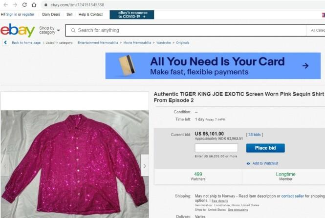 <strong>TIL SALGS:</strong> Joe Exotics glitrende paljettskjorte kan nå bli din. Faksimile: ebay.com