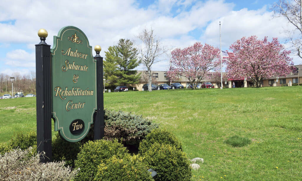 This Thursday, April 16, 2020 photo shows the Andover Subacute and Rehabilitation Center in Andover, N.J. Police responding to an anonymous tip found more than a dozen bodies Sunday and Monday at the nursing home in northwestern New Jersey, according to news reports.  (AP Photo/Ted Shaffrey)