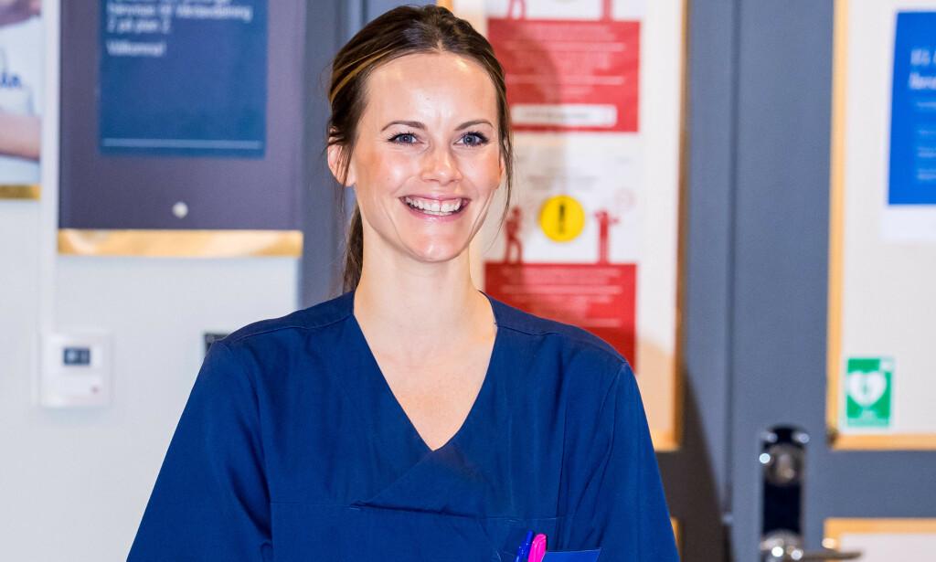 KLAR: Prinsesse Sofia hadde torsdag sin første dag på jobb ved Sophiahjemmet sykehus i Stockholm. Foto: NTB Scanpix