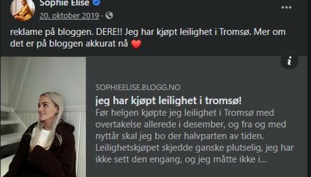 <strong>BLOGGET OM KJØP:</strong> Isachsen la 20. oktober ut et nå slettet blogginnlegg om at hun hadde kjøpt leilighet. Facebook-innlegget er fortsatt tilgjengelig. Foto: Skjermdump Facebook