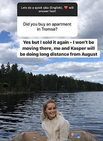 <strong>STEMMER IKKE:</strong> Sophie Elise Isachsen har gjentatte ganger i sosiale medier skrevet at hun har kjøpt leilighet i Tromsø. Tirsdag svarte hun en leser at leiligheten er solgt. Foto: Skjermdump Instagram/@sophieelise