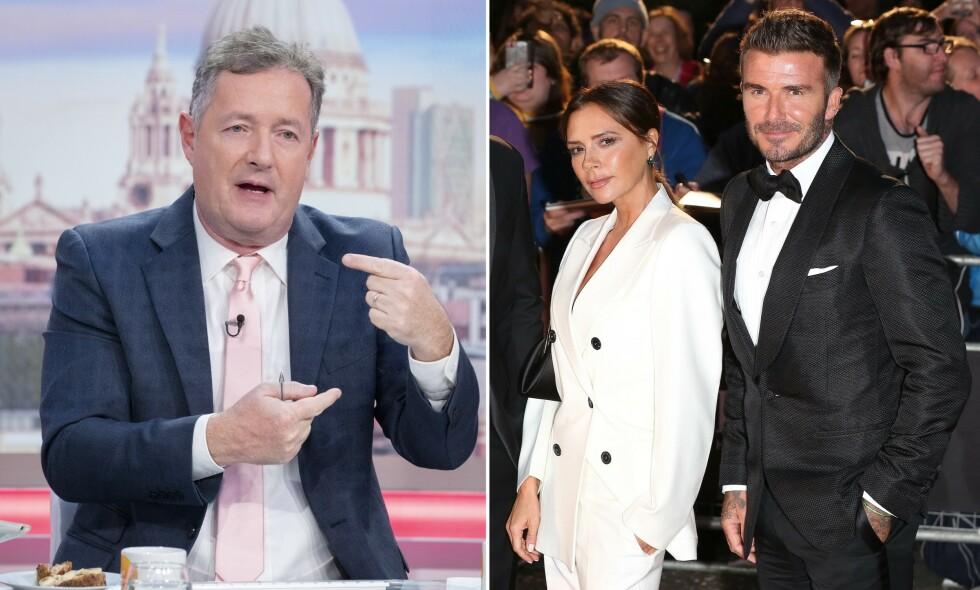 KRITISK: Piers Morgan mener det er ufint av Beckham-paret å benytte seg av myndighetenes krisepakker for sine ansatte. Foto: NTB Scanpix