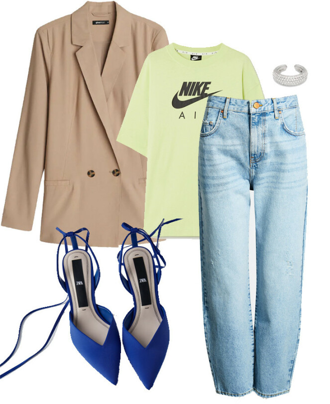 Blazer fra Gina Tricot, kr 399. T-skjorte fra Nike, kr 500. Bukse fra Bik Bok, kr 599. Ear cuff fra Tom Wood, kr 1449. Sko fra Zara, kr 399.