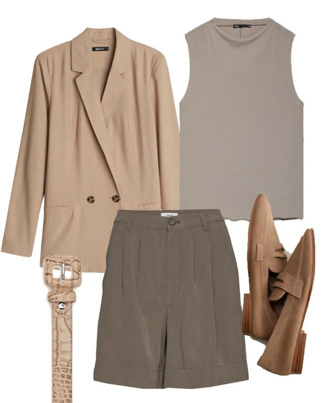 Blazer fra Gina Tricot, kr 399. Shorts fra mByM via Boozt.com, kr 700. Topp fra Zara, kr 169. Sko fra Mango, kr 599. Belte fra MOO, kr 1000.