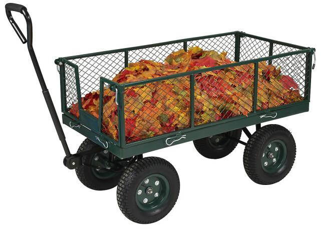 PRAKTISK HAGEKOMPIS: En solid og robust vogn med luftfylte gummihjul gjør hagearbeidet enklere.