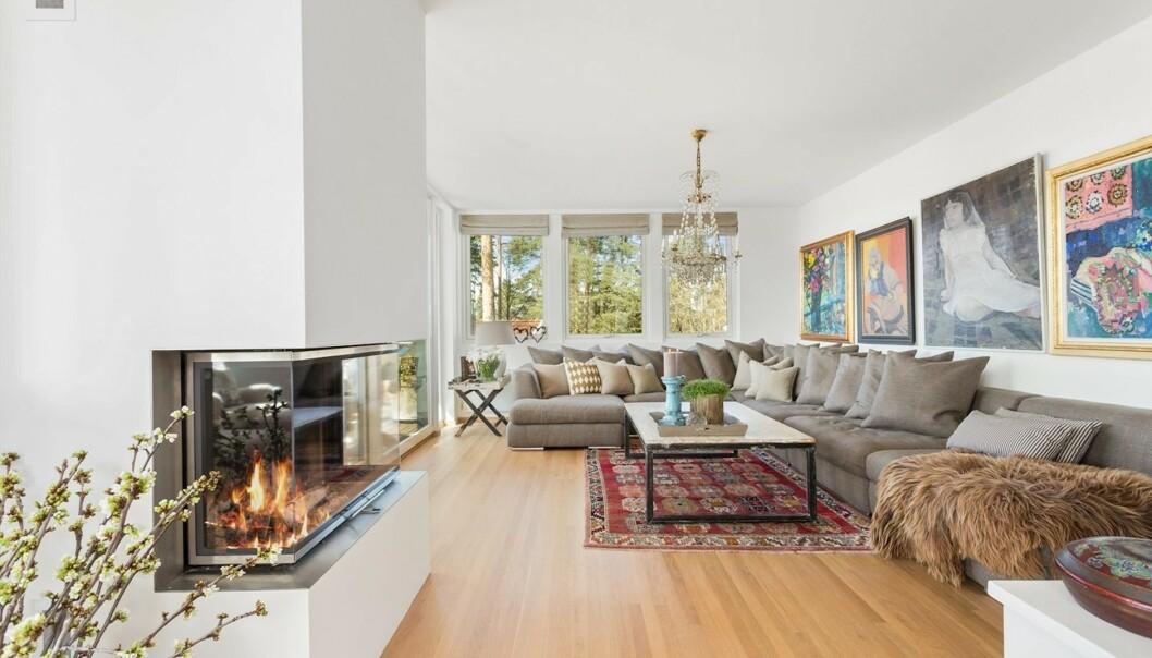 STUE: Guri Schanke og kjæresten har siden 2011 bodd i huset, som de nå selger. Her er stue med utsikt over Oslo. Foto: Steffen Rikenberg/ Inviso