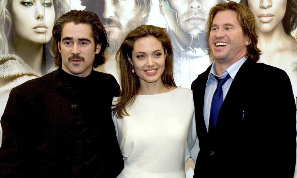 KJENT TRIO: Her er Colin Farrell, Angelina Jolie og Val Kilmer sammen under premieren av «Alexander» i Dublin i januar 2005. Foto: NTB Scanpix.