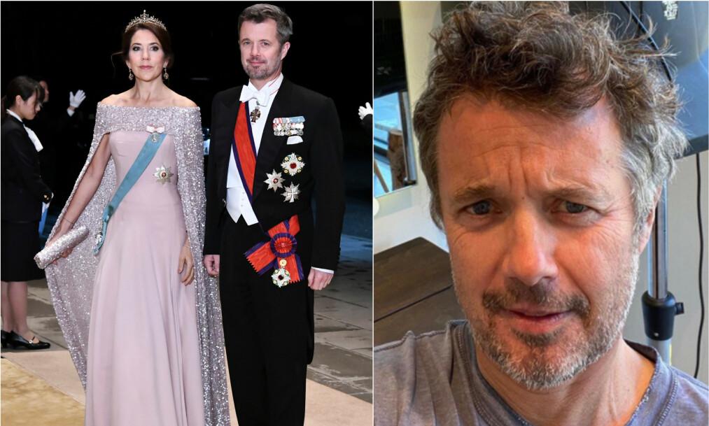 <strong>FÅR SKRYT:</strong> Kronprins Frederik delte nylig et bilde av at han har fått fikset på sveisen etter at Danmarks frisørsalonger har vært stengt i flere uker. Det får han skryt for. Her med kona Mary (t.v.), og før han lot lokkene falle. Foto: NTB Scanpix/ Det danske kongehus