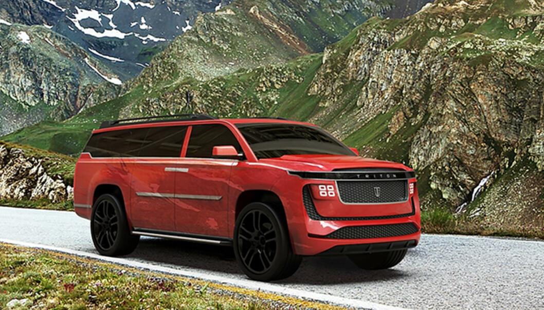 AMERIKANSK: Triton Model H er en diger SUV, som kanskje er mer tilpasset det amerikanske markedet enn det norske? Foto: Triton EV
