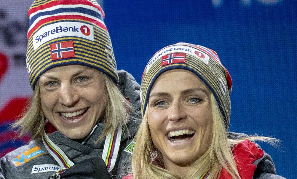 LAGVENNINNER I EN ÅREKKE: 1987-modell Astrid Uhrenholdt Jacobsen og 1988-modell Therese Johaug fikk sine store gjennombrudd samtidig i VM i Sapporo i 2007. Foto: Bjørn Langsem / Dagbladet